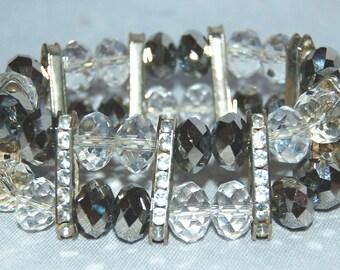Vintage / Large / Bracelet / Clear / Silver / Rhinestone / Flex / Sparkle /Bling / old jewelry