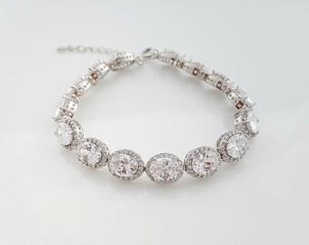 Crystal Bridal Bracelet, Wedding Jewelry, Oval CZ Bracelet, Crystal Wedding Bracelet, Bridal Jewelry, Emily