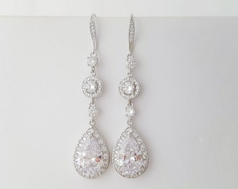 Long Wedding Earrings Crystal Bridal Earrings Cubic Zirconia Teardrop Earrings Bridal Dangle Earrings , Rayne