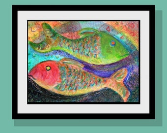 Red Fish Green Fish Art Print  Limited Edition -Beach Decor - Original Acrylic Painting - Folk Art - Pisces - Happy Colors - Wall Art
