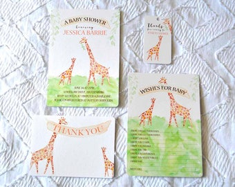 Printable Custom Giraffe Baby Shower Collection - Invitation, Wishes for Baby, Favor Tags, Thank You Note