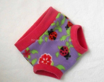 Large Ladybug Anti-Pill Fleece Fitted Diaper Soaker/Fitted Cloth Diaper Cover, Fuchsia Lavender Pink Purple, Ready to Ship Vegan Toddler
