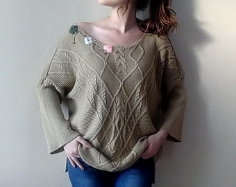 Plus size sweater, Women's Off The Shoulder Sweater Boho upcycled clothing, Oversized Khaki Brown Swater