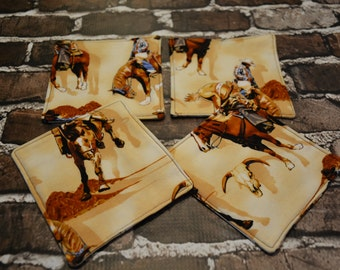 Rodeo Set of 4 Coasters/ Home Decor/ Housewarming Gift/ Birthday Gift/ Gift for Him/ Christmas Gift/ Gift for Nerds