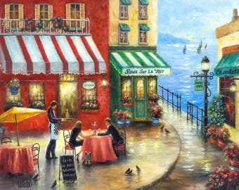 French Cafe Art Print, lovers in France, by the sea, french riviera, wall art, wall decor, bisto art, restaurant paintings, Vickie Wade art