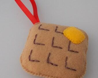 Square Belgium Waffle Christmas Ornament -  Felt Child Friendly Decorations