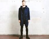 Vintage Navy Blue DUFFLE Coat . Men's Unisex 1960s Wool English Brittish Long Jacket 60s Mod Winter Coat Outerwear . size Large to XL