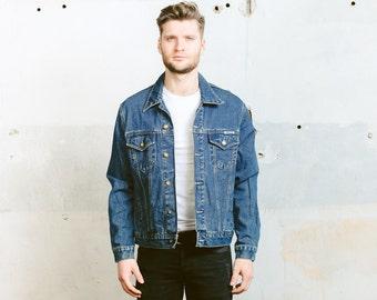 Vintage 80s Men's DENIM Trucker Jacket . Jeans Jacket Dark WASH Jacket Distressed Faded Stonewashed Coat . size Large L
