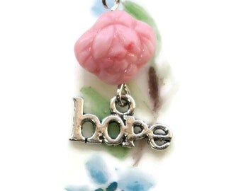 HOPE Charm Czech Rose Silver Faith Christian Pink Cabbage Rose Shabby Chic Cottage Flower Silver. #1307X
