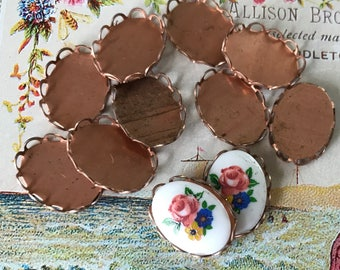Vintage copper Settings,11x15mm cabochon settings, Lace Border, Oval Settings, Brass Settings,Fits 10x14mm cabochon #1723