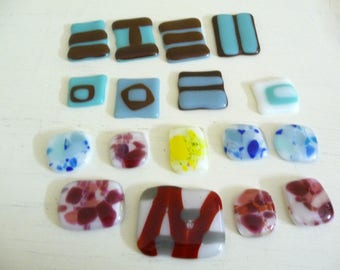 Fused Glass Cabochons Mixed Lot of 17