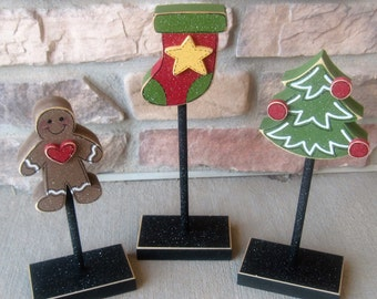 3 Tall Standing CHRISTMAS THEMED Block  SET with gingerbread tree, stocking, for Christmas, December, shelf, desk, office and home decor