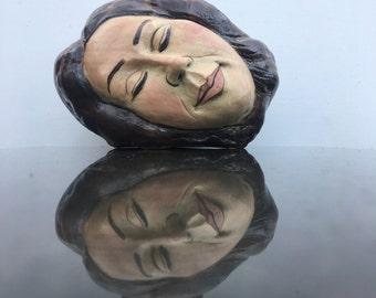 Surreal Art Vase, Dreaming Head Vessel Sculpture, Wabi Sabi Ikebana Face Pot, Sleeping Goddess
