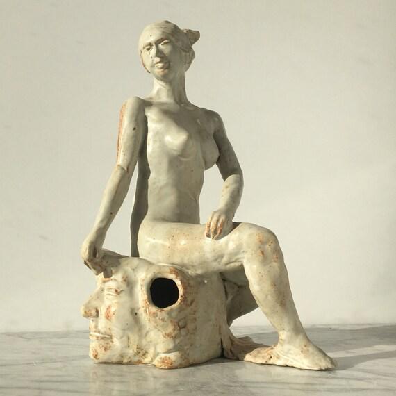 Ceramic Figure Sculpture, Seated Nude Twist Bare Awareness Glazed White Original Figurine Art