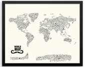 Moustache World Map | Stache | Nautical Gifts | Travel Gifts for Her | Travel Gifts for Him |  Movember | Handlebar | Mustache Styles |Cream