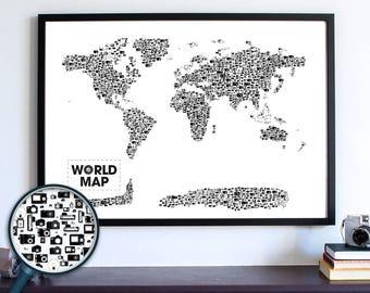 Polaroid Camera Print, Retro Camera World Map Poster, Photographer Gift, Classroom Art, New Apartment Housewarming Gift, Dorm Room Art Decor