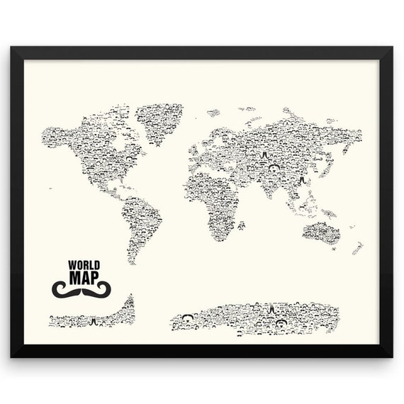 Mustache World Map Wall Art Print, Stache, Nautical Gifts,Travel Gifts for Her, Travel Gifts for Him, Movember, Handlebar, Mustache Styles