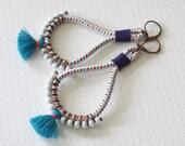 Custom Listing, Dangle Earrings, Textile Earrings, Large Funky Earrings, Beach Earrings, Summer Earrings, Fabric Jewelry