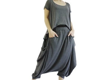 Funky Harem Boho Capric Drop Crotch Dark Heather Grey Stretch Cotton Mix Pants With Zipped Flap Side And Elastic Waist