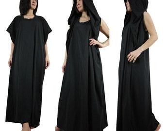 Funky Oversize Hood Cape Maxi Black Cotton Jersey Dress