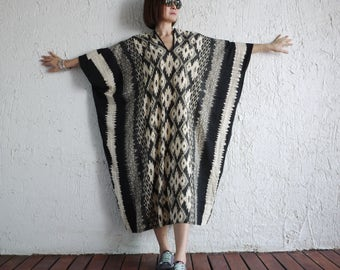 One Of A Kind - Graphic Ikat Printed Black Light Nano Rayon Kaftan Dress Poncho Dress Women Tops Maxi Dress Can Fit Up To 6X