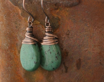Turquoise Earrings, Green Drop Dangle, Present For Girlfriend Wife Friend, African Turquoise