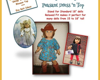 "Ezy Peazy Peasant Dress 'n Top Pattern for 18"" dolls  such as the American favorite"