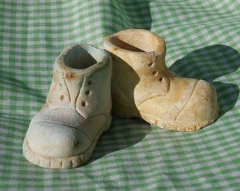 Vintage Plaster Shoe Figurines, Two Miniature Chalkware Shoes 2.75 inches long
