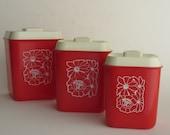 vintage kitchen decor - canister set - red white