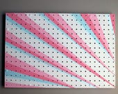 pegboard - functional artwork –Ribbons– acrylic on pegboard - home décor - organizer