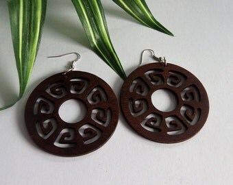 Tribal Round Wood Earrings in Coffee  Wooden Earrings Brown Natural Stained Wood