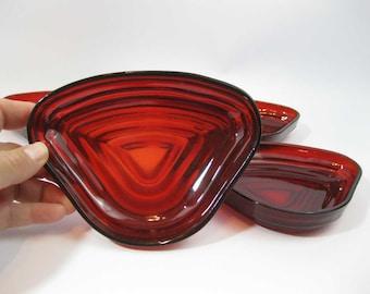 Vintage Anchor Hocking Royal Ruby Red Glass Triangular Manhattan Insert Dishes(4)