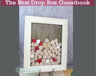 drop box guest book    white alternative guestbook frame drop a heart styler drop box drop top rustic wedding drop box wedding box