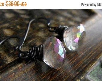 Mystic Topaz Earrings, Clear Stone Earrings, Minimalist, Drop Earrings, Winter Neutrals, Sparkly Earrings, Wrapped Oxidized Sterling Silver