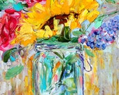 Original oil painting Spring Flowers in a Mason Jar abstract impressionism fine art impasto on canvas by Karen Tarlton
