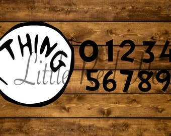 Blank Thing one with Numbers 1-9, SVG files, great for Halloween, Dr. Suess, Cat in the Hat, Shirts, Reading Day, Elementary or Kids, Twins