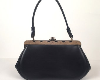 Vintage 1950s Black Top Hande Handbag