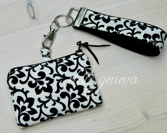 Black & White Damask Coin Purse - Blue Tooth Case with Wristlet - Key Fob - Ready to Ship - Order with Any Accent Color