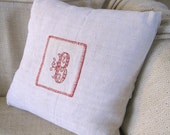 """Antique hand stitched """"B"""" monogram cushion made with antique French hemp, throw pillow, gift"""