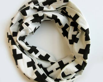Black and White Infinity Scarf - Loop scarf - Cotton Knit Scarves - Black Crosses