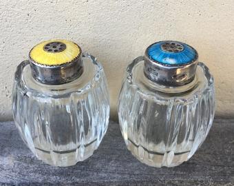 Vintage Sterling Enamel Denmark Meka Salt and Pepper