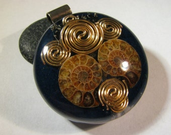 Large Ammonite Orgone Pendant - Azurite and Tiffany Stone