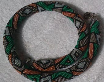 Geometric Shape Necklace With Beads. Green, Orange, Black, White Spiral Crochet Necklace