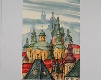 Old Town Spires in Prague Original Watercolor Painting, Cityscape, Prague Towers