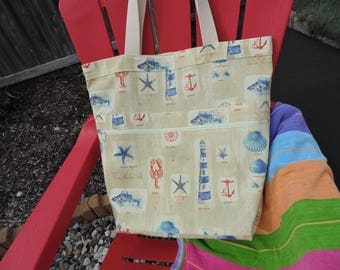 Extra Large Beach Bag, Family Size Tote Bag, Summer Theme