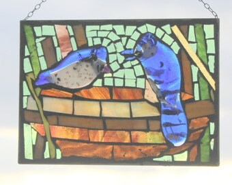 Blue Jay-  Stained Glass SunCatcher or wall Decoration