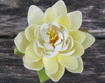 Ivory Lotus hair flower clip - Wedding - Hawaiian -