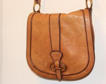 Caramel Leather Crossbody Bag Fossil Dark Brown Leather Trim