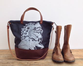 SALE Large foldover indigo tote block print and waxed canvas day bag with leather handles