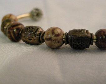 gold beaded bracelet cuff